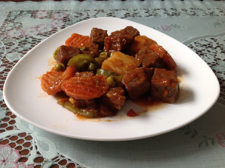 Beef Stew with Carrots Green Peas and Potatos