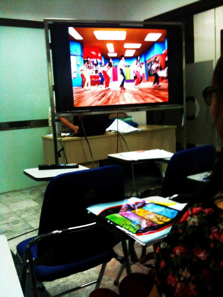 The Korean teacher let us see the video Gee by SNSD to practice listening