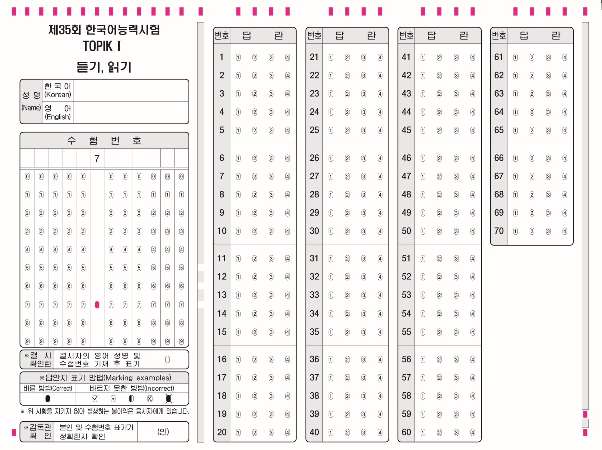 Answer Sheets for the new Topik format